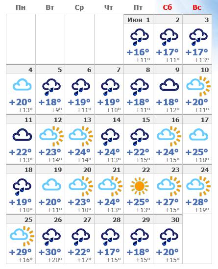 Погода в июньской Вене 2019.