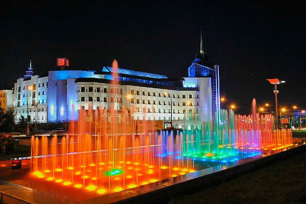 Цветные фонтаны.