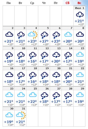 Погода в июльском Амстердаме 2020.