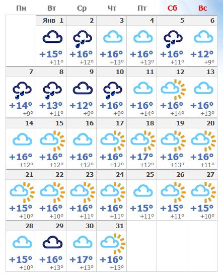 Погодные условия в январском Лиссабоне в 2020 году.