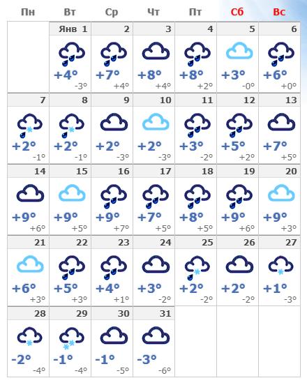 Погодные условия в январской Вене в 2019 году.
