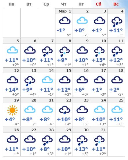 Погодные условия в марте 2020 в Амстердаме.