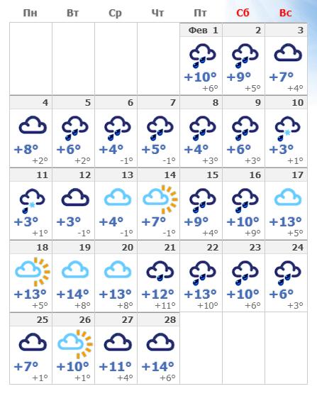 Погодные условия в феврале 2020 в Риме.