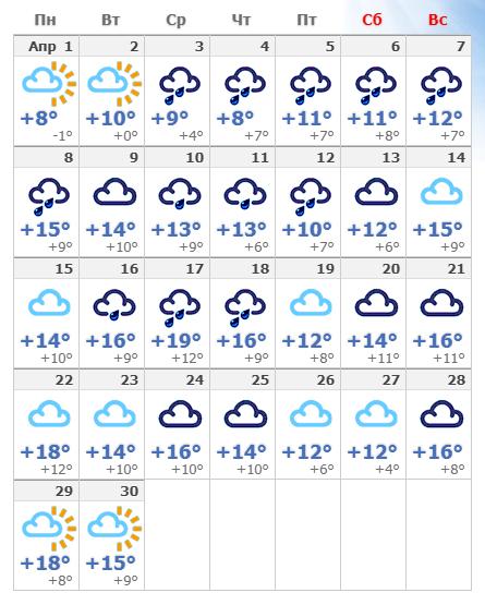 Погодные условия в апреле 2020 в Амстердаме.