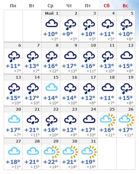 Погодные условия в мае 2020 года в Амстердаме.