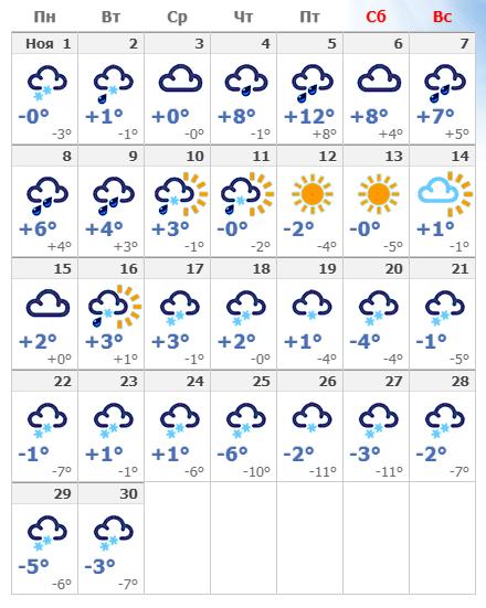 Погодные условия в ноябре в Пскове 2021 года.