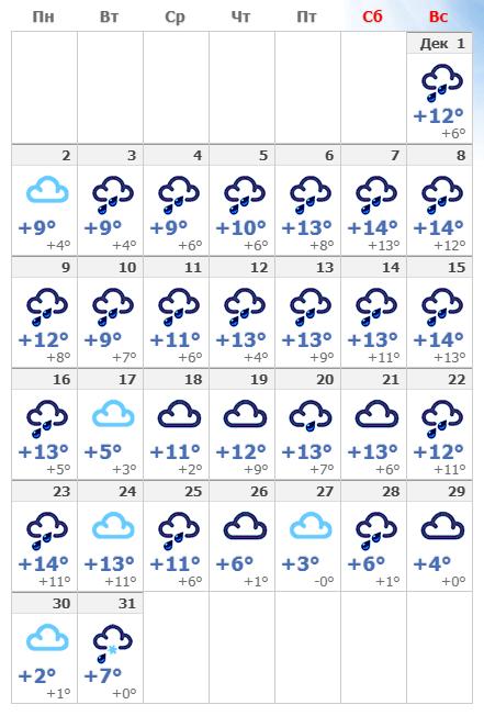 Погодные условия в Лондоне в декабре 2019 года.