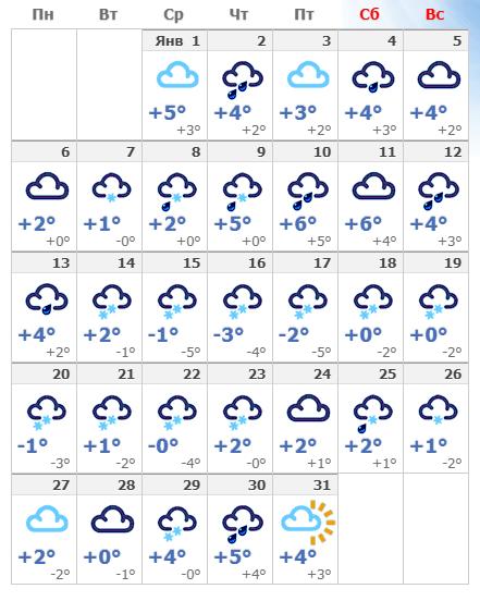 Погодные условия в январской Риге в 2020 году.