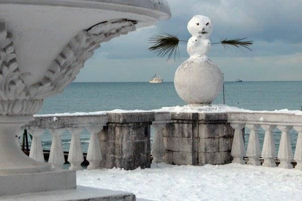 Снег в Сочи в декабре 2020 года.