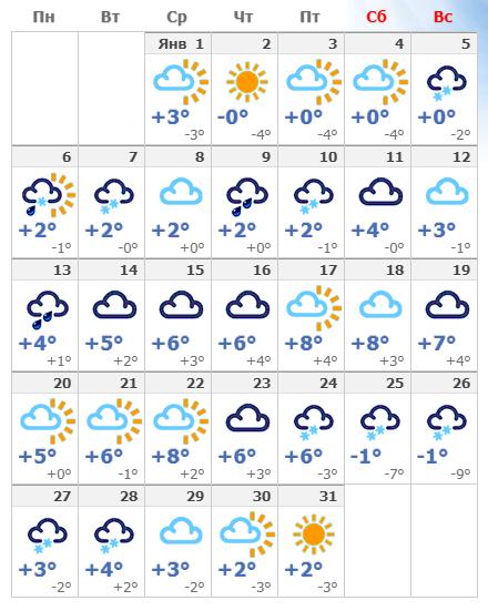 Погодные условия в январской Чехии в 2020 года.