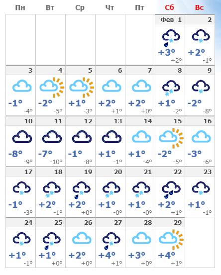 Погодные условия в столице Эстонии в феврале 2020 года.
