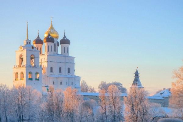 Зима в Пскове.