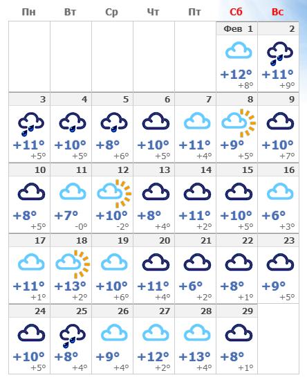 Погодные условия в февральской Барселоне в 2020 году.
