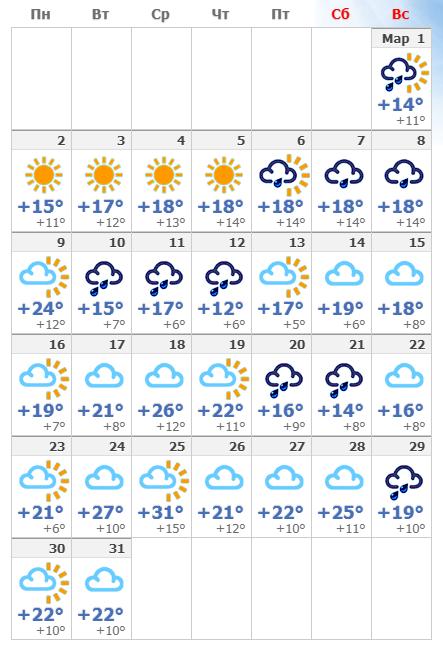 Погодные условия в мартовском Тель-Авиве в 2020 году.