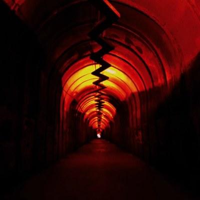 В тоннеле.