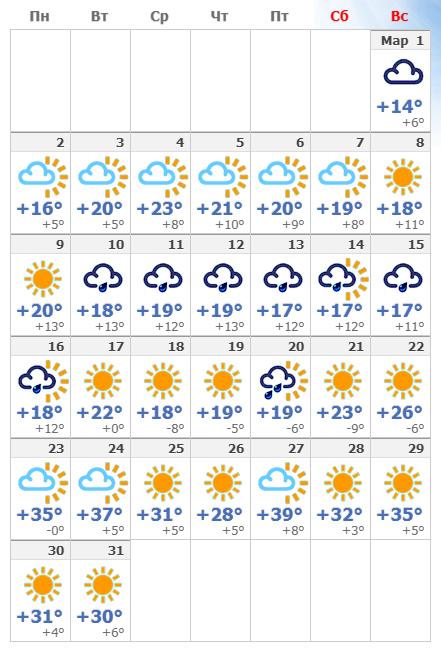 Погодные условия в марте 2021 года в Иерусалиме.